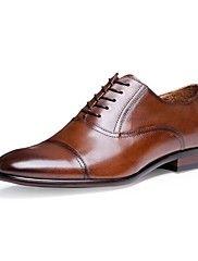 Masculino-Oxfords-sapatos Bullock-Salto Baixo-Preto Marrom-Pele-Escritório & Trabalho Casual Festas & Noite