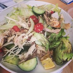 Chicken watermelon sunflower seeds avocado cucumber celery cabbage and lettuce with salt pepper and lemon #paleo #primal #whole30 #crossfit #fitspo #fitfood #fitness #fitgirls #atkins #diet #glutenfree #girlswholift #lowfat #lowcarb #lowcalorie #organic #sugarfree #Superfood #slimmingworld #thebodycoach #wod #workout #weightloss #weightwatchers #grassfed #cleaneating by rtrecipes
