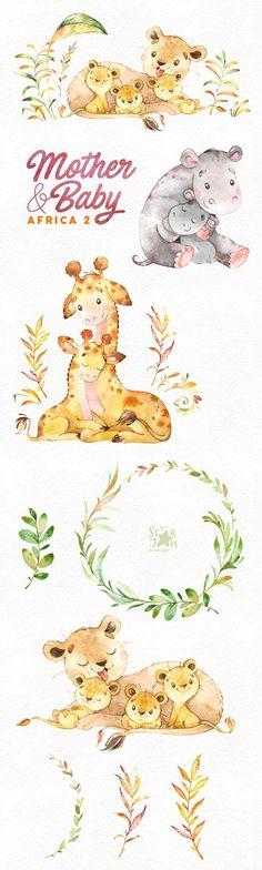 Mother & Baby. Africa 2. Watercolor animals clipart giraffe
