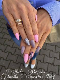 by Monika Szurmiej Tutaj Indigo Young Team :) Find more inspiration at www.indigo-nails.com #nailart #nails #indigo #pastel #pink #violet #black #white #sugar #effect
