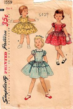 RARE Vintage Childrens Girls One Piece Dress Simplicity 1559 Sewing Pattern Size 2