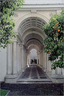 Francesco Borromini's masterly 17th-century trompe l'oeil perspective colonnade in the Palazzo Spada, just around the corner from the Palazzo Farnese. Rome