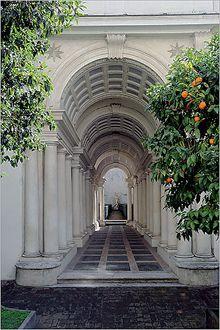 Palazzo Spada, Piazza Capo di Ferro  13, Rome. Francesco Borromini, architect, 1632, courtyard gallery.
