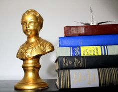 Vintage Golden Boy Sculpture Porcelain Ceramic Bust Statue Collectible Home Decor Great Gift by TGXC on Etsy