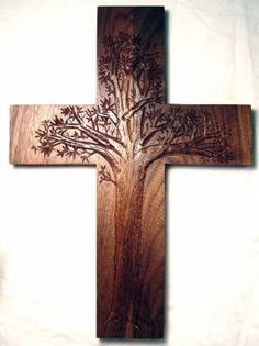 Tree of life cross...LOVELY! I think it would have carved the whole great tree and then used a jigsaw to cut out the cross.