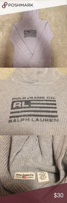 Polo Ralph Lauren Gray Hoodie In excellent condition. Vintage item! Tag states size Medium. However, recommended for XS-S sizes! Polo by Ralph Lauren Tops Sweatshirts & Hoodies