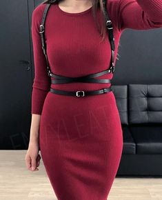 Beautiful body harness with crossed straps. Perfect for dresses, shirts and other clothes. Can be combined with casual or business style. Made from genuine top quality cow leather. Casual Wear, Casual Outfits, Cute Outfits, Fashion Outfits, Womens Fashion, Fashion Tips, Casual Attire, Fashion Art, Fashion Online