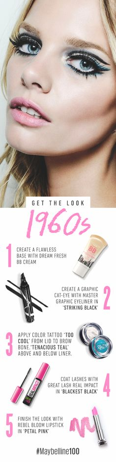 Bring Mod makeup back with this 60s- inspired graphic eye look that's all about thick liner and lots—and lots!—of lashes. Get the look with Master Graphic eyeliner, Color Tattoo cream gel eyeshadow, and Color Sensational Rebel Bloom lipstick.