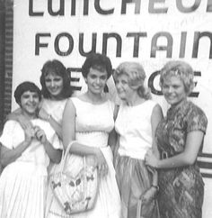 late 1950s American Bandstand Regulars.  I am not sure of girl on the far left--looks like Betty Romantini but not positive).  The rest left to right are Barb Levick, Arlene DiPietro, Frani Giordano, and Janet Hamill.
