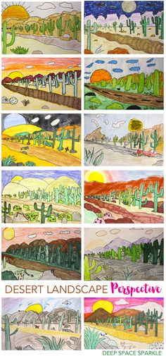 How to draw a perspective landscape: Desert #LandscapeDrawing