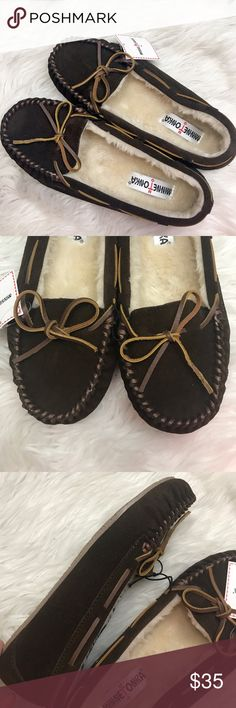 Minnetonka slipper Moccasins Dark brown Suede 9 These are brand n w with tags!  Dark brown suede with cozy lining. Size 9 Minnetonka Shoes Slippers