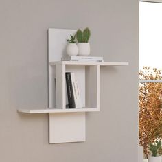 Brayden Studio Fill your empty wall space with this unique wall shelf. Featuring shelving for your home and office. Unique Wall Shelves, Wooden Wall Shelves, Wall Shelf Decor, Wall Shelves Design, Display Shelves, Shelves For Books, Cool Shelves, Home Decor Bedroom, Diy Home Decor