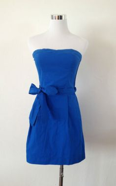 NWT Abercrombie & Fitch Hollister Strapless Fit Dress Royal Blue Size M