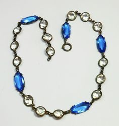 Art Deco Era Sterling & Faceted Glass Stone Necklace c. 20