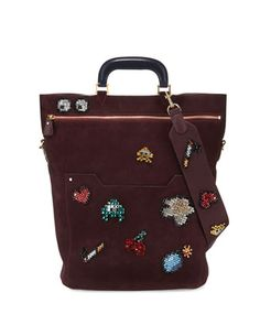 Orsett+Space+Invader™+Large+Suede+Tote+Bag,+Burgundy+by+Anya+Hindmarch+at+Neiman+Marcus.