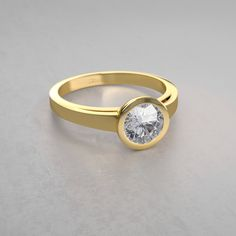 Contemporary Bezel-Set Round Solitaire Engagement Ring in 14k Yellow Gold