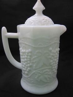 vtg 8 sided paneled Grape Imperial Milk Glass Syrup Pitcher snowflake base mark #ImperialGlass