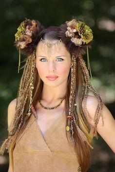 tribal headdress tribal wig chain headress tribal goddess burningman faery mother nature mother earth www.etsy.com/shop/lotuscircle