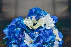 Bride's flowers! Blue hydrangea, white anemones and stephanotis with a little something extra