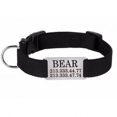 Personalized Dog Collar Nameplate Engraved S M L Black
