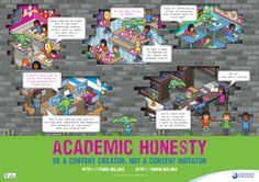 This is an extremely useful, very simple poster defining situations of Academic Dishonesty. I think that if more posters like this were posted in academic institutions students would pay more attention to the issues! Essay On Honesty, Academic Dishonesty, Library Posters, Higher Order Thinking, Poster Display, Simple Poster, Activities For Girls, Media Specialist, Library Displays