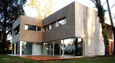 Completed in 2008 in Tandil, Argentina. A corner lot in the best area of April country club, located in what was once the area's original ranch house, retaining old trees that gave, in. Exterior Design, Interior And Exterior, Shipping Container Buildings, Old Trees, Ground Floor Plan, Patio, My Dream Home, Dream Homes, My House