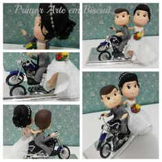 Topo de bolo noivos na moto, noiva nutricionista, noivo motoqueiro, bouquet de frutas