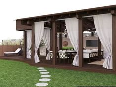 Cottage Exterior Renovation - Oyster White Exterior - - Home Exterior One Story - Backyard Gazebo, Backyard Patio Designs, Outdoor Pergola, Backyard Landscaping, Pergola Ideas, Balcony Design, Garden Design, Outdoor Curtains, Pergola Attached To House