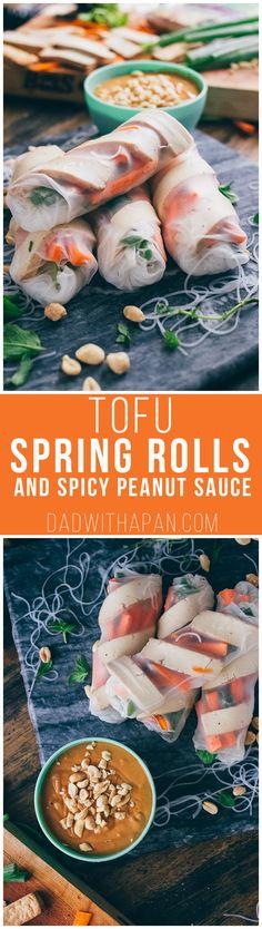 Sesame Ginger Tofu Spring Rolls With Spicy Peanut Sauce @nasoya #Tofu