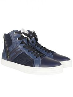 "HOGAN Dark Blue Zip Detail ""Rebel"" High-Top Sneakers. #hogan #shoes #dark-blue-zip-detail-rebel-high-top-sneakers"