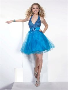 Sexy Halter Short Sequined with flower Open Back Tulle Homecoming Dress PD1892
