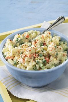 Delicious potato salad replaces potatoes with cauliflower!