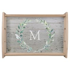 Rustic watercolor botanical olive leaves on wood, monogrammed serving tray.