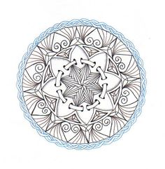 Réalta ~ I like doing mandala-type studies /like the ribbon in the middle-DJ Henna Doodle, Mandala Doodle, Mandala Drawing, Doodles Zentangles, Zentangle Patterns, Mandala Art, Geometric Mandala Tattoo, Mandala Tattoo Design, Different Drawing Styles
