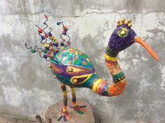 Large gourd Bird, Whimsical birds, Folk art, Gourds, Paper machete, Papier mache bird, Mix media, Art, Gourd, Floral design, Bird by pineconeinabox on Etsy