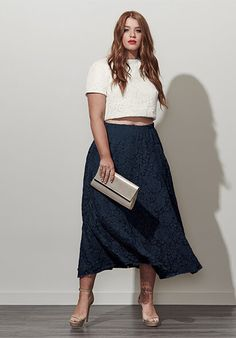Plus Size Two Piece Skirt & Top