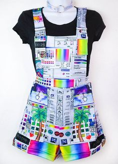 Vaporwave Computer Glitch Overalls - Women's style: Patterns of sustainability Harajuku Fashion, Kawaii Fashion, Cute Fashion, Teen Fashion, Fashion Black, Petite Fashion, Fall Fashion, Style Fashion, Vaporwave Clothing