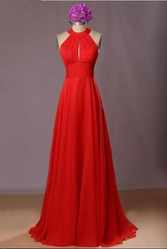 2017 Hot Red Long Chiffon Bridesmaid Dresses Halter Sleeveless Floor-length Open Back Summer Style Wedding party Dresses ball gown fashion women