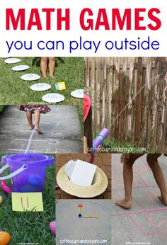 Summer School: Outdoor Math Games for Kids! Make math practice fun by taking it outside! Math Activities For Kids, Math For Kids, Math Resources, Number Activities, Math Classroom, Kindergarten Math, Teaching Math, Outdoor Classroom, Outdoor School