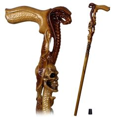 Lowest Price on Cobra Snake and Skull Artisan Intricate Handcarved Cane.