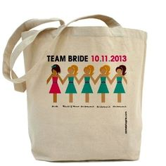 Team Bride Dolls personalized totes for bride, bridesmaid, maid of honor and flower girl.  Free US shipping.  PamelaFugateDesigns