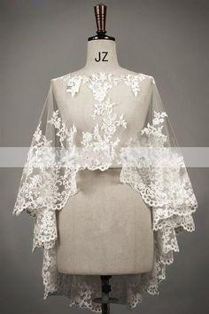 New Wedding Ivory / White Lace Bolero Shrug Bridal Jacket S M L XL XXL XXXL