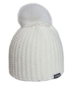 3a3af9b577e YUTRO Fashion Womens Winter Wool Beanie Ski Hat With Rabbit Pom One Size  OFFWHITE   Amazon most trusted e-retailer  SnowOutfit
