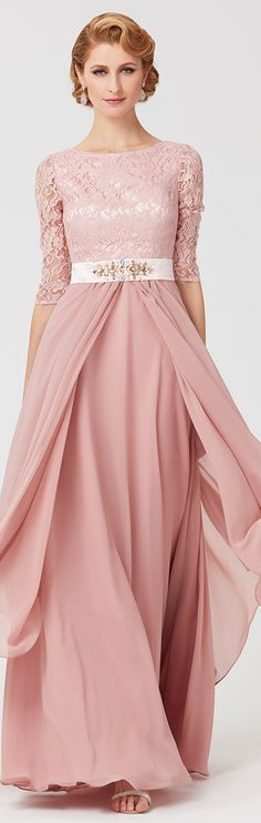 A-Line Jewel Neck Ankle Length Chiffon Lace Mother of the Bride Dress with  Beading 910f72acd