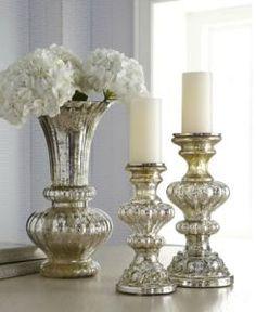 Mercury Glass Vase & Candleholders