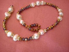anklet pearls pearls and glass beads by Aquilonicolorati on Etsy