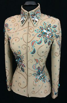 assessorieing showmanship jacket   ... > Tan, Copper and Aqua Showmanship Suit by Paintedj ~ Ladies Small
