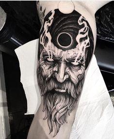 Hades Tattoo, Zeus Tattoo, Norse Tattoo, Dark Tattoo, Viking Tattoo Sleeve, Viking Tattoos, Sleeve Tattoos, God Tattoos, Body Art Tattoos