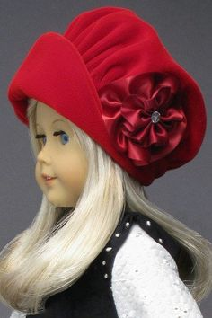 """RED VELVET HAT for AMERICAN GIRL DOLLS ❤ Made from vintage patterns in """"The Mary Frances Sewing Book 100th Anniversary Edition"""". http://amazon.com/dp/1937564010/"""