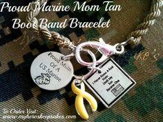 Marine Mom - Marine Corps - Tan Boot Band Bracelet w/ Clasp -Retail: $10.50 plus shipping- For more info: www.facebook.com/myheroskeepsakes -To Order Visit: www.myheroskeepsakes.com
